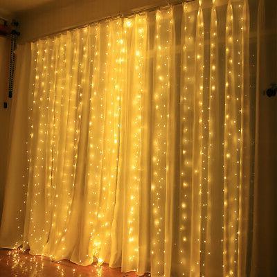 D C 5 W 300 L-EDs Fairy Curtain Light with Remote Control V1J0