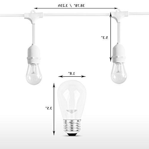 SUNTHIN 48ft Outdoor String Lights, Lights With White 15 E26 18 x 0.9 Wat, 18 0.9 Watt S14 Edison light, Waterproof lighting