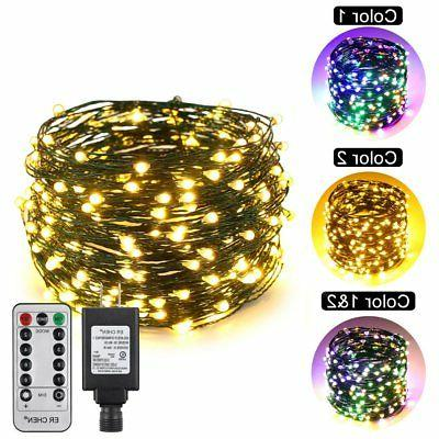 ErChen Dual-Color LED String Lights , Green Copper Wire