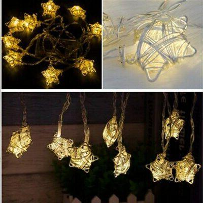 Festive Metal Star String Lights - Indoor Plug-In Lights - 6