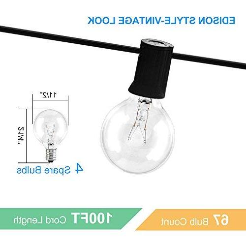 Gorld 100Ft String Lights, UL Backyard Super Hanging for Tents, Weddings, Clear Bulbs + 4 Spare,