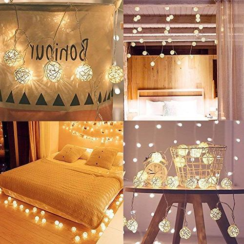 Globe Rattan String Lights, Goodia LED Warm White Fairy Tree,Party