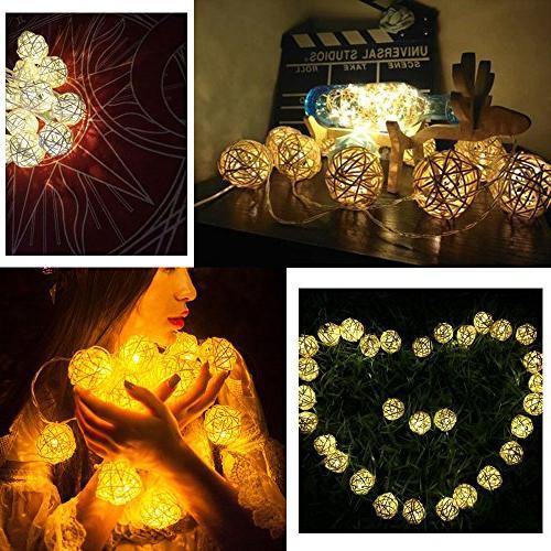 Globe Rattan Ball Lights, HOPET USB Fairy Strand Lights for Christmas Tree Patio