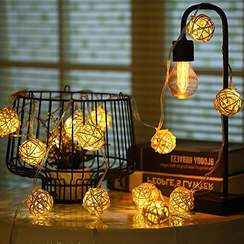 globe rattan ball string lights