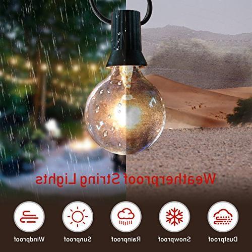 Guddl Globe Lights with 27 G40 Bulbs, Lights for Wedding Camping Garden Gazebo Bistro Backyard Balcony 25ft Black