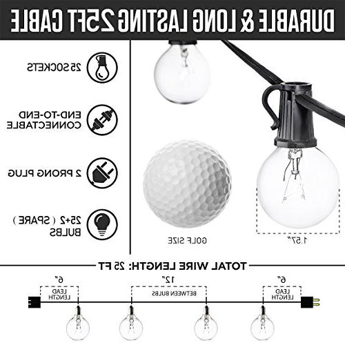 Guddl with 27 Clear Bulbs, Outdoor Lights for Christmas Camping Patio Gazebo Pergola Bistro Backyard Balcony Black Wire