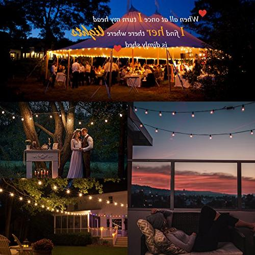 Guddl Globe String with 27 Bulbs, Connectable Lights for Camping Gazebo Porch Pergola Bistro