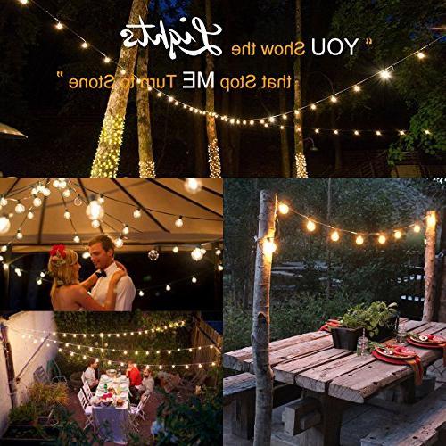 Guddl Globe with Bulbs, Lights for Christmas Camping RV Patio Gazebo Porch Pergola Backyard Balcony 25ft Black Wire
