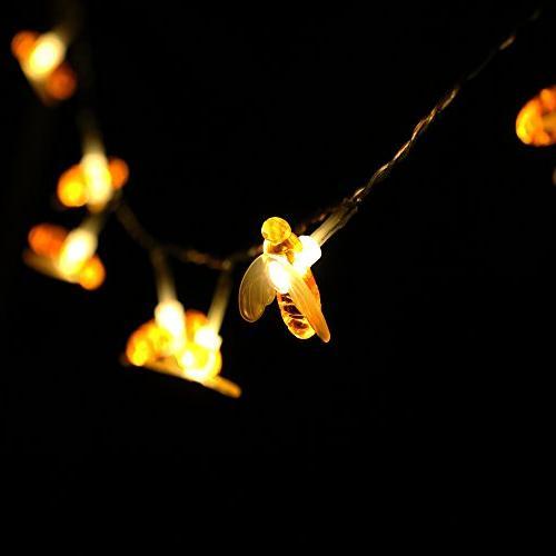 Honeybee CHEN 20 LED Honeybee Battery Power String Lights Party,Wedding,Xmas,Decoration,Gardens,Patios,etc.