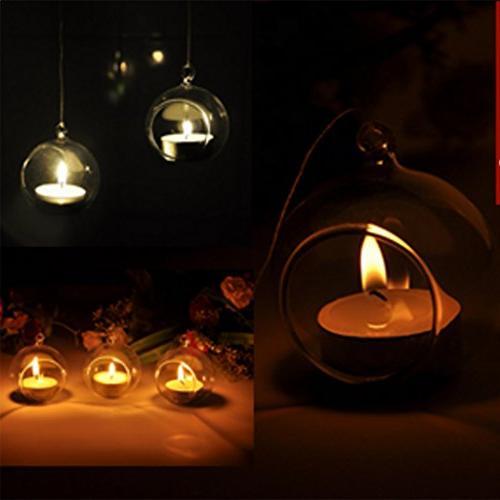 Fityle Ball Glass Geometric Desktop Display plants, Candle - 10cm_Flat