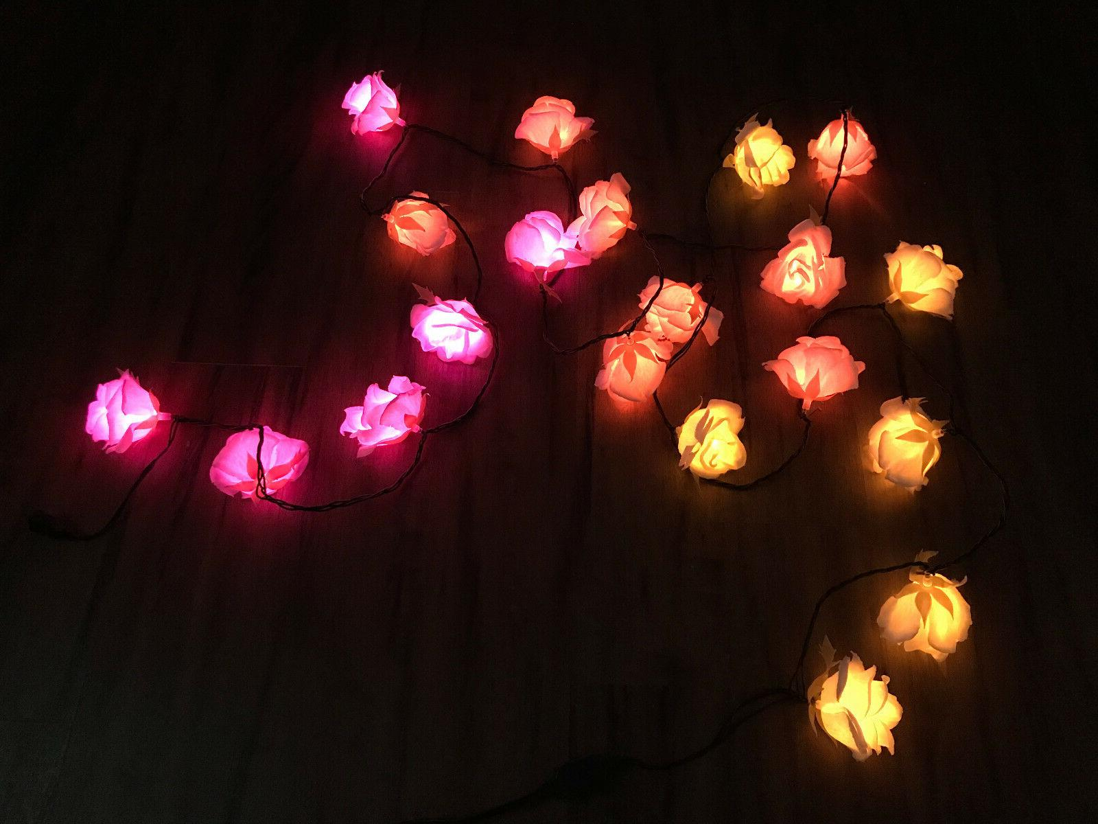 Led Romantic Flower Rose Light Pink Orange Yellow Decor Exte