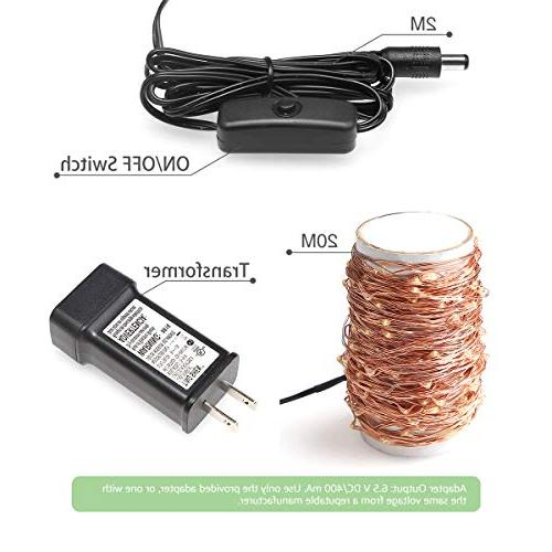 LE Copper Wire Lights, Warm Fairy Firefly Lights, Indoor Outdoor Ambiance Lighting for Home Wedding Party Adaptor