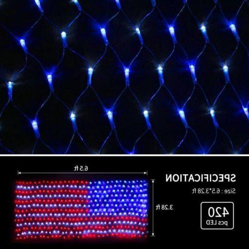 LED Net Lights American Flag Light Festival Indoor/ Outdoor