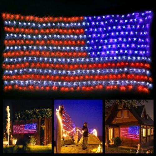 led flag net lights american flag light