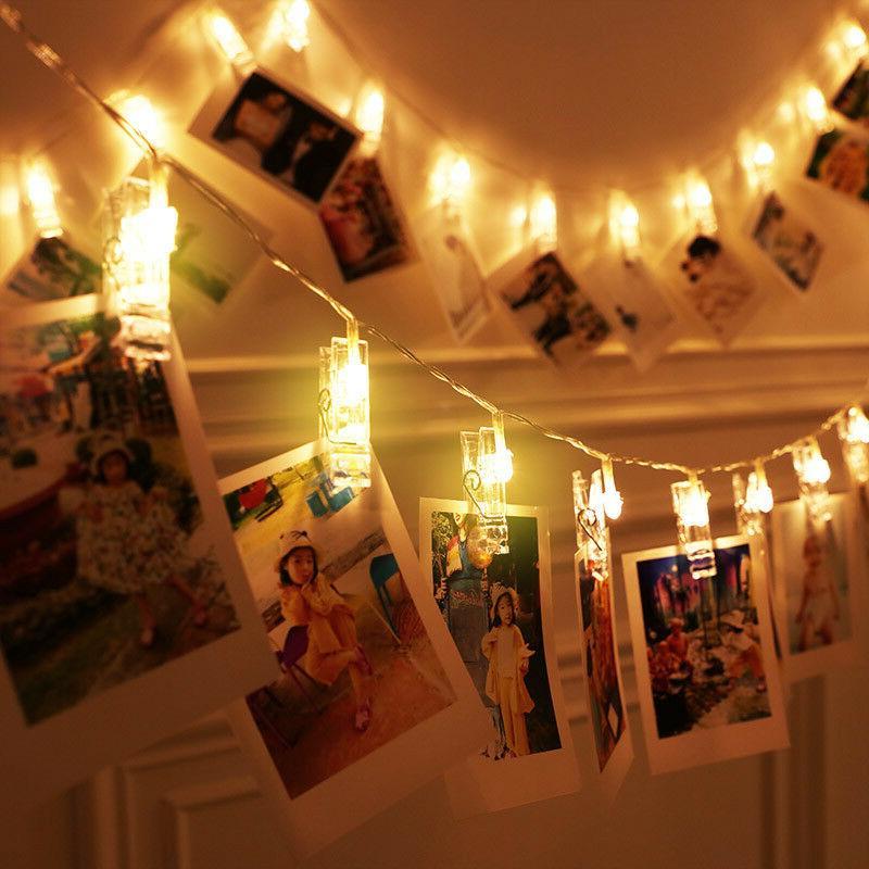 led photo peg clip string light lamp