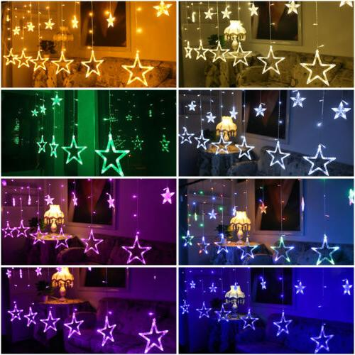 2m 138 LEDs Curtain Fairy String Lights 12 Stars for Window