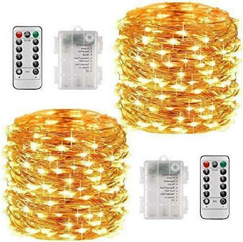 Led String Lights 2 Pack 33Ft With 100 Leds, Waterproof Deco