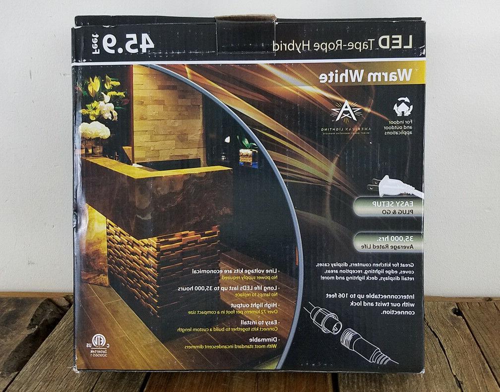 American Lighting LED Tape Rope Lights, Warm White, 45.9 Ft,