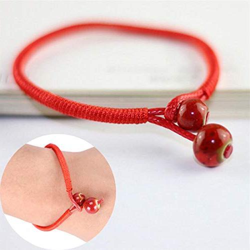 Lucky Red Ceramic Bead Woven Charm Bracelets Handmade Adjustable Jewelry
