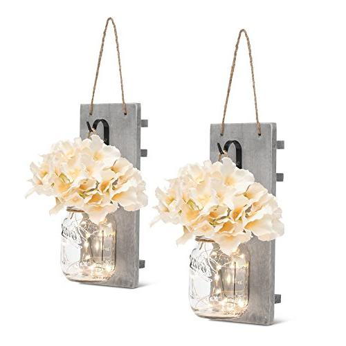 Mason Jar Sconces with LED - Fairy Lights,Vintage Wrought Ir