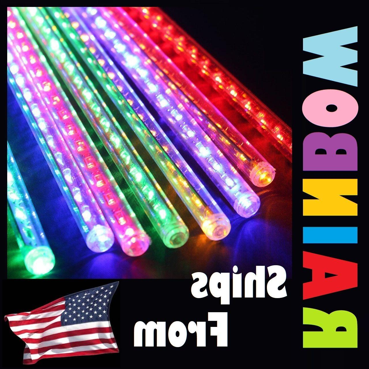 multicolor rainbow 8 led meteor shower icicle