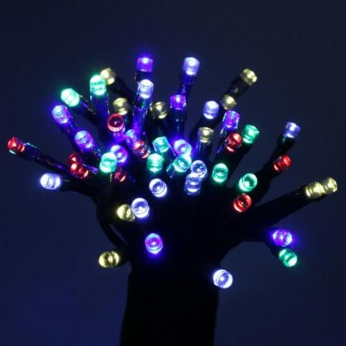multicolored solar powered holiday string lights 100