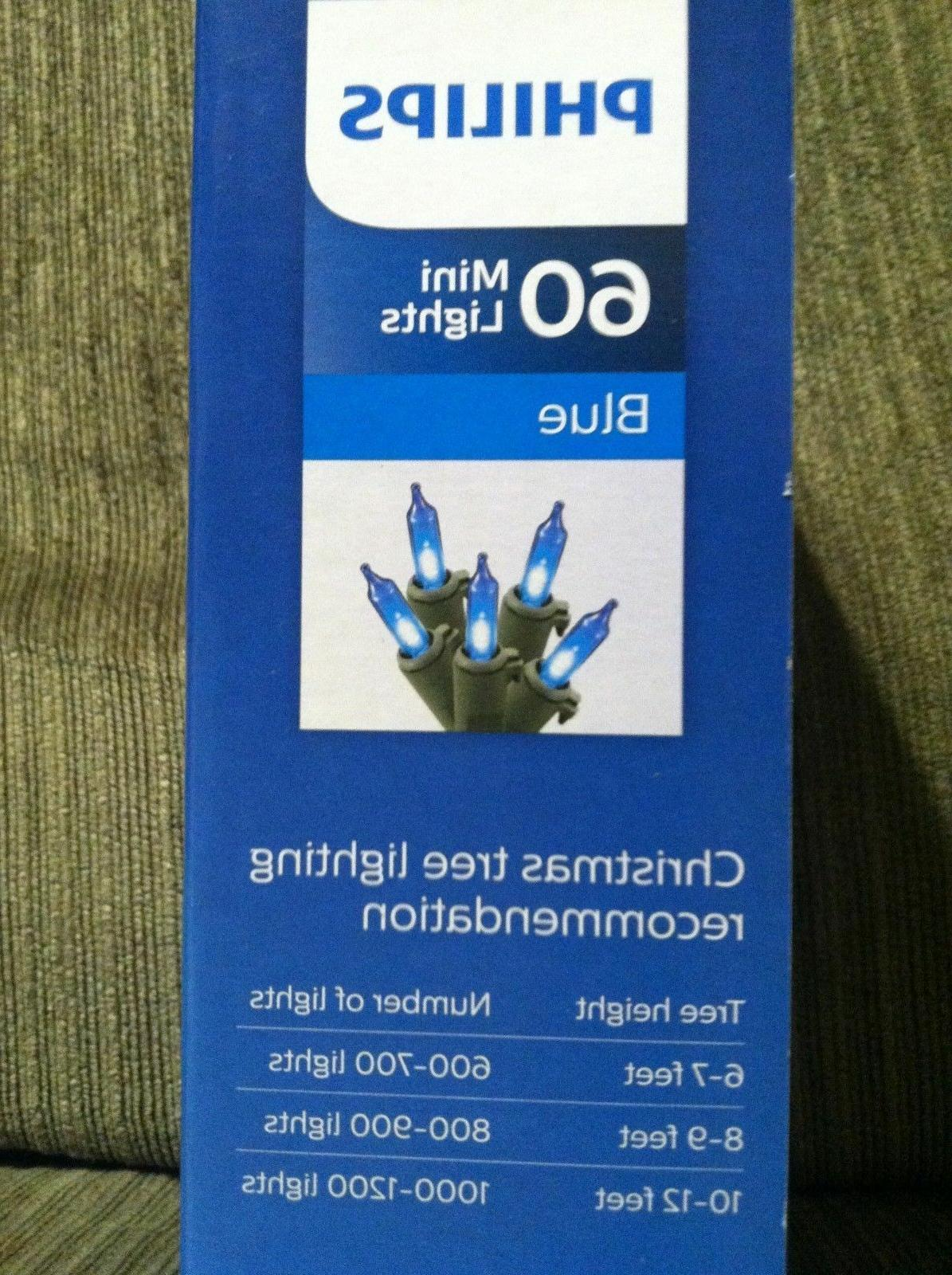 NEW! Philips Blue Mini Lights 60 green wire Christmas Lights
