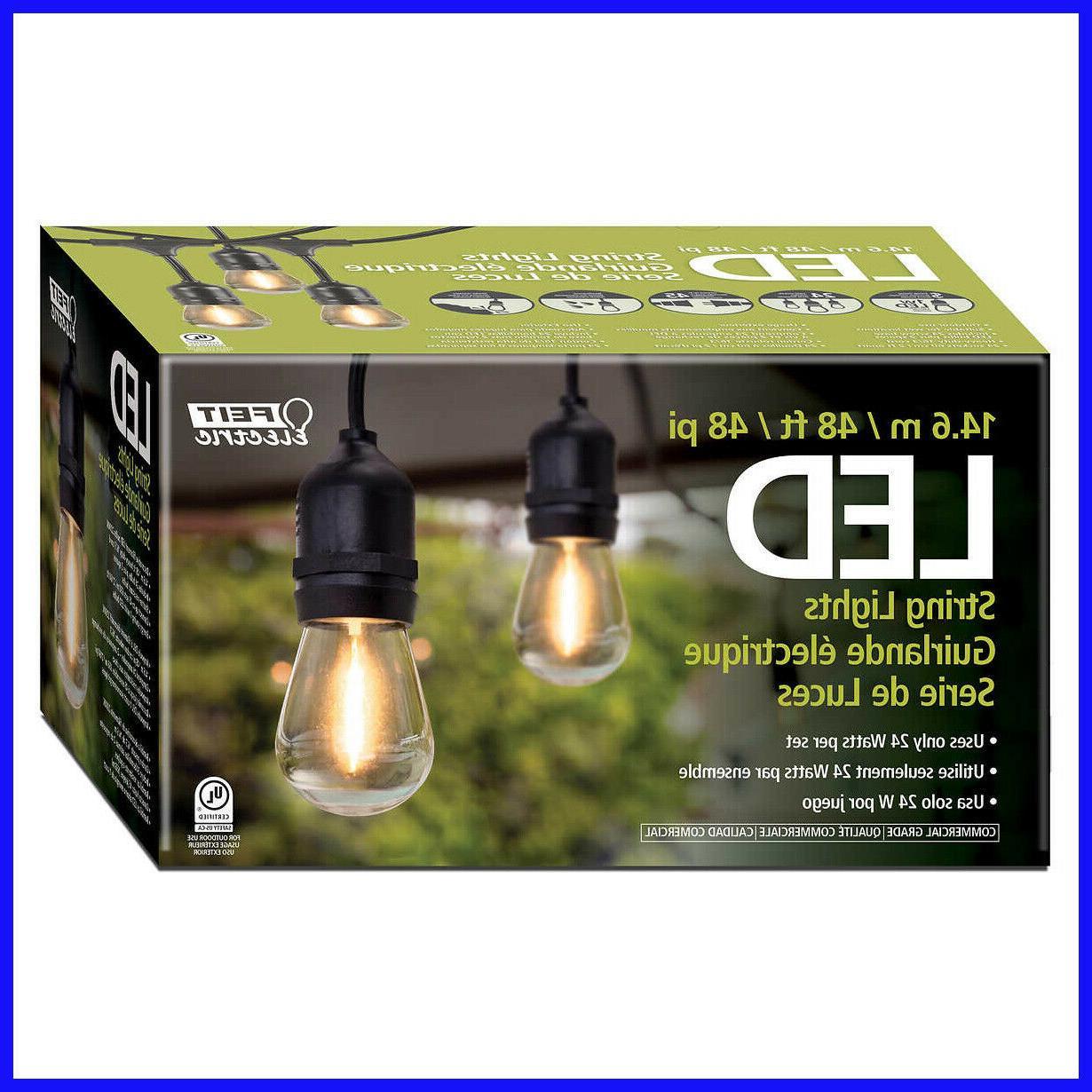 Feit LED String Lights, 48 ft, 26 LED Light Bulbs, 2200K