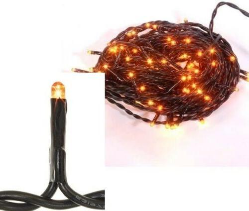 Orange Teeny Bulbs String 100 Lights 19.5' Black Cord Indoor