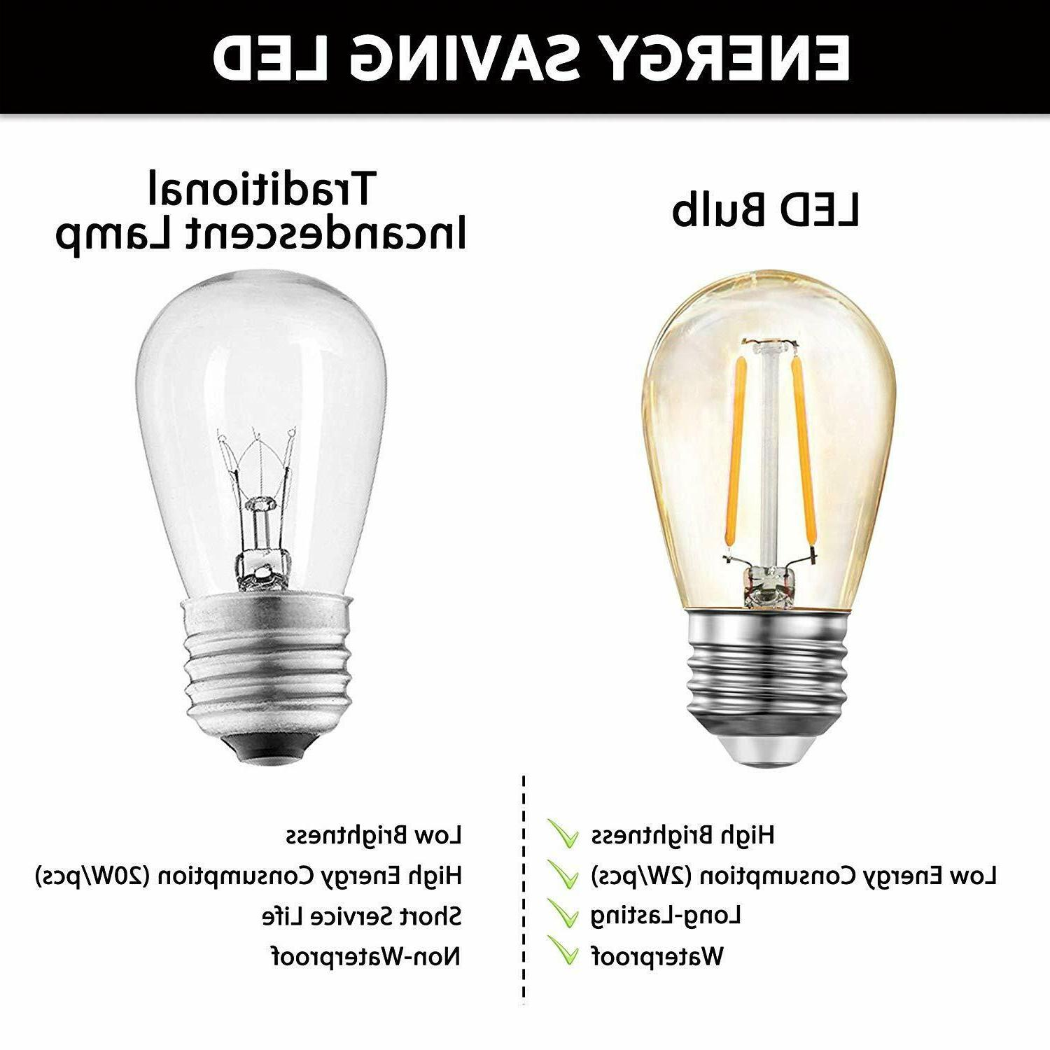 JUSLIT Outdoor String UL Listed Commercial Grade Edison Bulbs