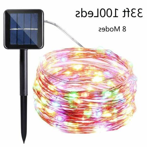 outdoor solar power 100 led copper wire