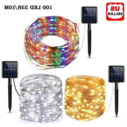 outdoor solar powered 33ft 10m 100 led