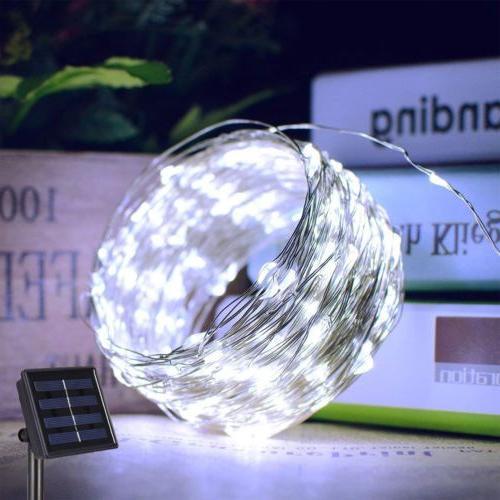 outdoor solar string lights 100 led copper
