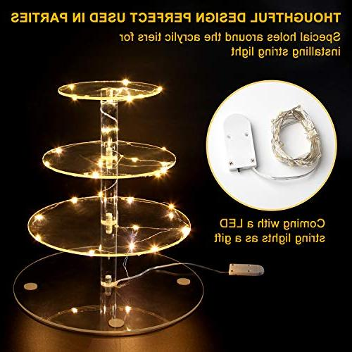 Vdomus Stand 4 Tier Cupcake Stand Lights Dessert for