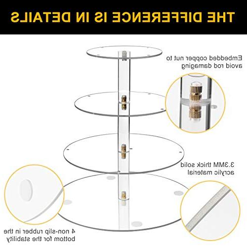 Vdomus Pastry Stand Tier Acrylic Cupcake Display Stand LED Lights Tree Tower for