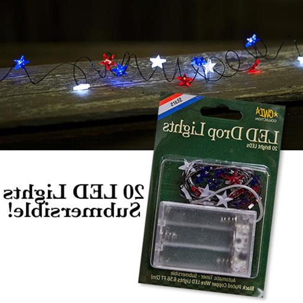 Patriotic Star LED String Lights Red White Blue Automatic Ba
