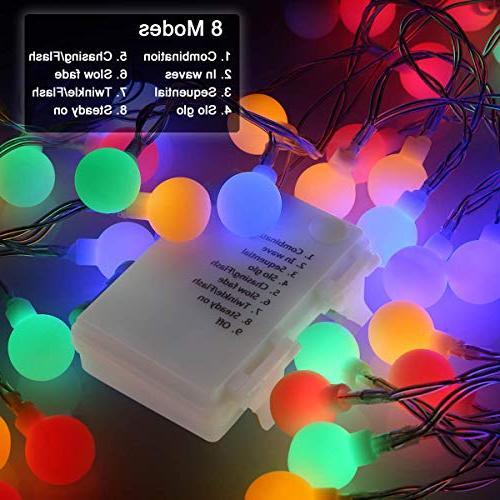 ALOVECO String 14.8ft 40 Waterproof Ball Modes, Battery Powered Fairy Bedroom, Garden, Christmas Wedding,