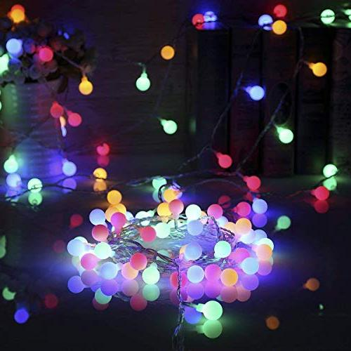 ALOVECO 14.8ft Ball 8 Modes, Battery Fairy String Bedroom, Garden, Christmas Wedding, Party