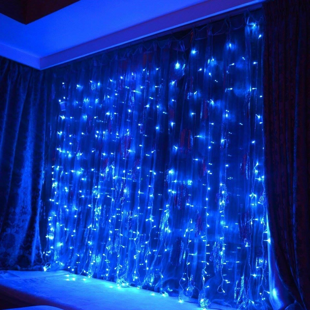 300 Curtain String Lights Wedding Blue