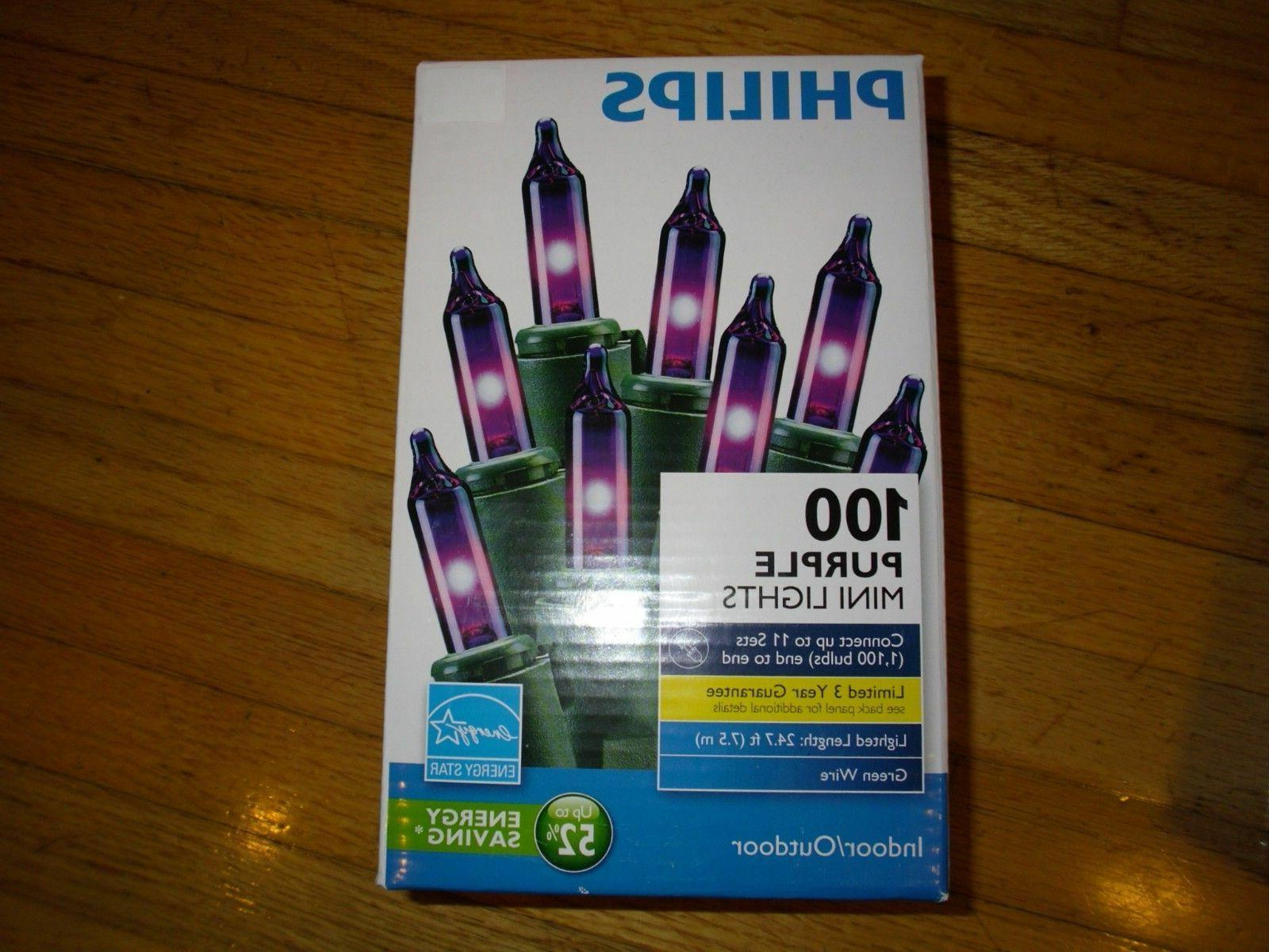 New Philips 100 pcs Purple Mini Light  Green Wire Length 24.