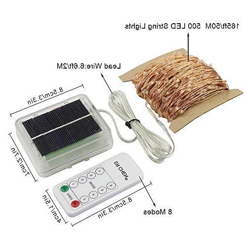 ErChen Remote Solar Powered 165FT Wire Waterproof 8 modes Decorative for Outdoor Garden yard