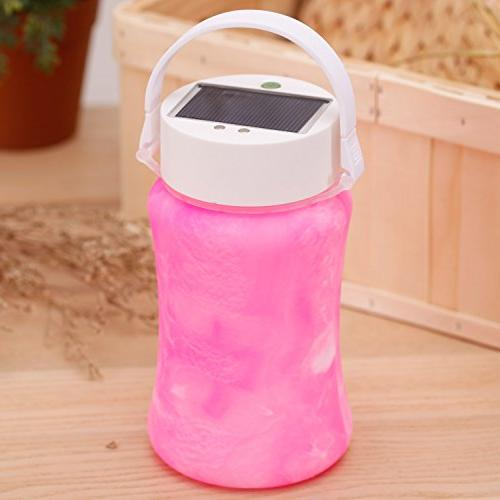 """CEDAR Solar Outdoor LED Silicone Lamp 1000mAh Rechargeable USB Bank, W 4"""" D 7"""" H, Pink"""