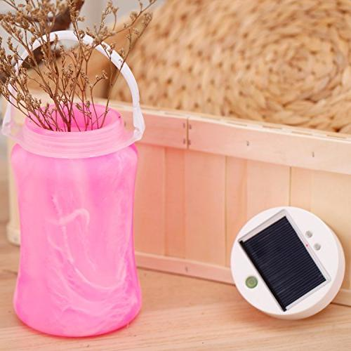 """CEDAR HOME Solar Lantern Outdoor Light Collapsible Silicone Waterproof Camping Lamp with Hanger and 1000mAh Bank, x 4"""" D H, Pink"""