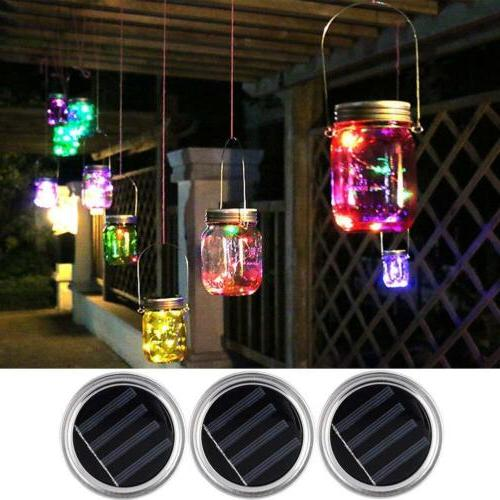Solar Mason Lids Fairy LEDs Indoor Outdoor Lamps