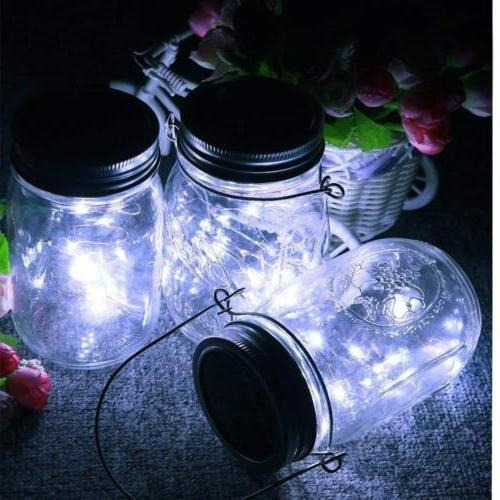 Solar Mason Jar Fairy String Lights 20 LEDs Indoor Outdoor Lamps