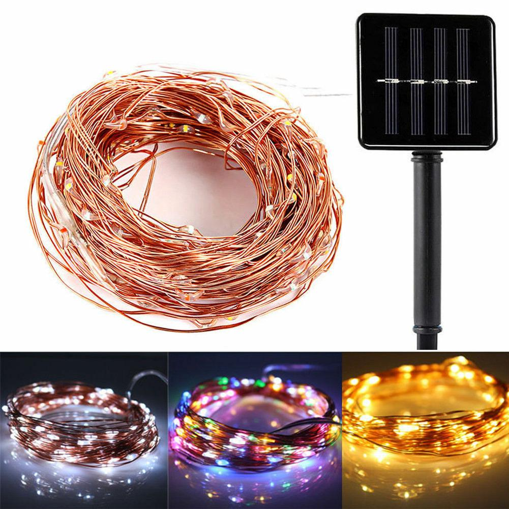 Solar Power LED String Lights 100 Copper Wire 33 ft. Waterpr