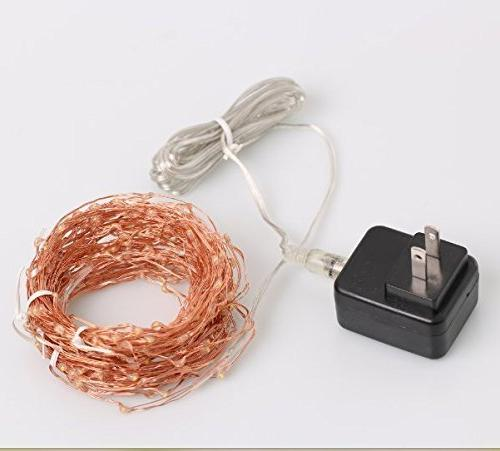 LED Firefly Lights, 200 Micro White 35 Ft Wire Plug Christmas Mason Centerpiece Craft DIY