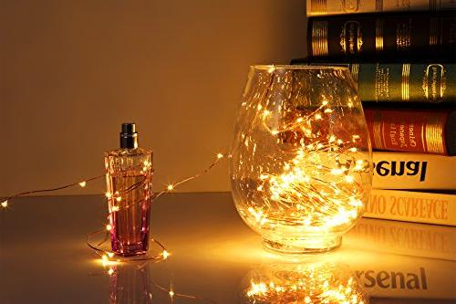 LED Starry Firefly Lights, Micro White LEDs 35 Wire Christmas Mason Craft DIY