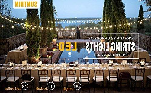 SUNTHIN 48ft LED of with x E26 Sockets Hanging Loops, 18 0.9 S14 -Indoor/Outdoor String Commercial String Lights, Patio Light Strings