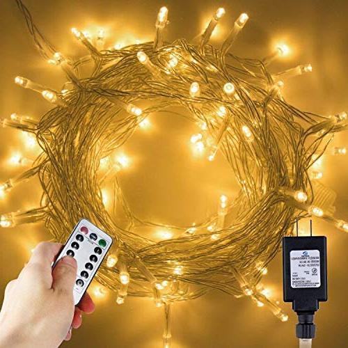 LED Lights, 33Ft 100 LEDs Indoor String 8 Control, Waterproof Fairy Lights Home Decoration, UL Plug, Warm White